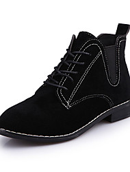 Women's Boots Fall / Winter Work & Safety / Bootie PU / Suede Casual Low Heel  / Lace-up Black / Brown / Green