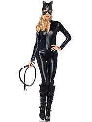Sexy Catwomen Catsuit Zentai Costumes Halloween Black Solid Terylene Leotard/Onesie / More Accessories