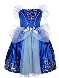 abordables -Vestido Chica de Noche Algodón Poliéster Manga Corta Verano Formal Lazo Azul