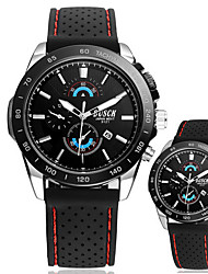BOSCK Men's White Round Case Calendar 30M Water Resistant Silicone Band Sports Watch Gift (with Package)