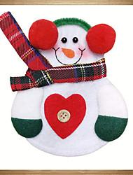 decorazione il sacchetto del pranzo tasca porta cucina bel pupazzo di neve stoviglie posate partito tavola di Natale 6pcs di natale