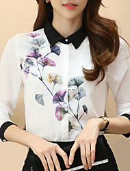 Women's Fashion Korean Shirt Collar Wild Floral Print Stitching Long Sleeve Work OL Chiffon Shirt