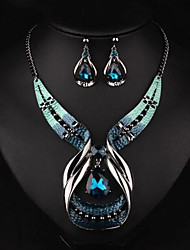 cheap -Women's Drop Jewelry Set Earrings / Necklace - Luxury / Fashion / European Gold / Blue Jewelry Set / Necklace / Earrings For Party /