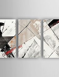 cheap -Oil Painting Abstract Set of 3 Hand Painted Canvas with Stretched Framed Ready to Hang
