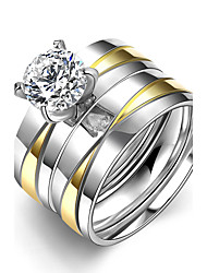 cheap -Men's Women's Ring Cubic Zirconia Unique Design Double-layer Stainless Steel Round Costume Jewelry Wedding Party Office / Career Daily