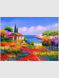 cheap -Hand-Painted Landscape Floral/Botanical Abstract,Modern Pastoral European Style One Panel Canvas