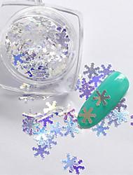 2g/box New Symphony Blue Christmas Snowflake/Love/Mickey Paillette Glitter Nails 3d Slice Powder Set DIY Design