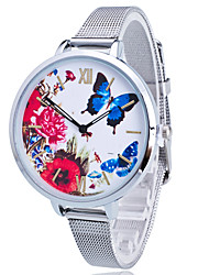 Ladies'/Women's Fashion Watch Silver Steel Thin Band Large Dail Butterfly Flowers White Round Case Analog Quartz Casual Wrist Watch Strap Watch