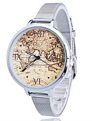 Women/Lady's Gold/Silver Steel Thin Band World Map White Round Case Analog Quartz Fashion Watch