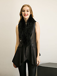 Women's Formal Simple / Street chic Fur Coat Solid V Neck Sleeveless Fall / Winter Black Faux Fur / PU Medium