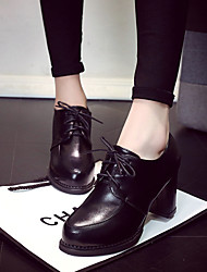 cheap -Women's Oxfords Comfort PU Fall Casual Walking Comfort Lace-up Chunky Heel Block Heel Black Beige Ruby 3in-3 3/4in
