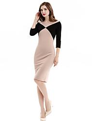 Dámské Vintage / Sofistikované Běžné/Denní / Velké velikosti Bodycon Šaty Jednobarevné,Tříčtvrteční rukáv Kulatý Délka ke kolenům Béžová