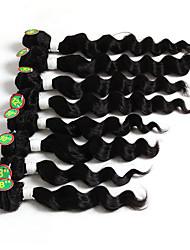 economico -Cappelli veri Brasiliano Ciocche a onde capelli veri Onda morbida Extensions per capelli 1 pezzo Nero