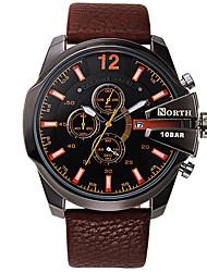 cheap -Men's Wrist watch Quartz Japanese Quartz Calendar / date / day Leather Band Charm Luxury Black Brown