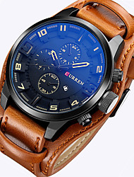 cheap -CURREN Men's Wrist watch Military Watch Dress Watch Fashion Watch Sport Watch Quartz Japanese Quartz Calendar / date / day Leather Band