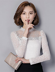 cheap -Women's Going out/Casual Plus Size Women's Tops Solid Color Stand Collar Long Sleeve Lace Slim Blouse Shirt