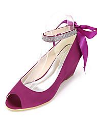abordables -Femme Chaussures Soie Printemps / Eté Chaussures à Talons Hauteur de semelle compensée Ruban Rose / Champagne / Ivoire / Mariage