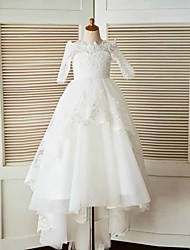 cheap -A-Line Sweep / Brush Train Flower Girl Dress - Lace Tulle Half Sleeves Bateau Neck with Beading Appliques by LAN TING BRIDE®