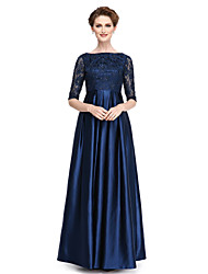 cheap -A-Line Bateau Neck Floor Length Lace Stretch Satin Mother of the Bride Dress with Beading Sequins by LAN TING BRIDE®