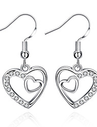 cheap -Women's Cubic Zirconia Drop Earrings - Sterling Silver, Zircon, Cubic Zirconia Heart, Love Luxury, European, Fashion White For Party Casual Valentine / Gold Plated
