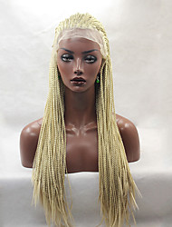 Fashion Long Straight Braids Synthetic Lace Front Wigs Glueless Blonde Color Women Wig