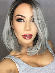 cheap -Synthetic Lace Front Wig Straight Bob Haircut / With Bangs Synthetic Hair Middle Part Bob / Ombre Hair / Dark Roots Gray Wig Women's Medium Length Lace Front / Natural Hairline