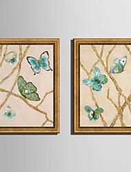Animali Tele con cornice / Set con cornice Wall Art,PVC Materiale Oro Senza passepartout con cornice For Decorazioni per la casacornice