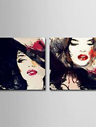 Dipinta a mano Astratto / Ritratti / Fantasia / Ritratti astratti Dipinti ad olio,Modern / Classico / Realismo / Mediterraneo Due Pannelli