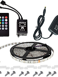 cheap -Waterproof 150LEDs 5M Color RGB LED Strip Light Kit with 20-key Music Sound Sense IR Controller and 12V 3A Power Supply