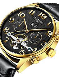 baratos -Homens Relógio Elegante / Relógio Esqueleto / Relógio de Pulso Calendário / Cronógrafo / Impermeável Couro Banda Casual Marrom / Automático - da corda automáticamente