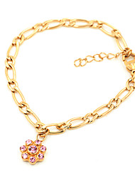 Fashion Flower Rhinestone Stainless Steel Figaro Link Chain Bracelets