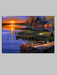 cheap -E-HOME® Stretched LED Canvas Print Art Lake Cottage Scenery LED Flashing Optical Fiber Print One Pcs