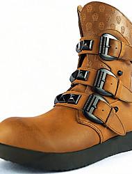 baratos -Homens sapatos Pele Napa Primavera Verão Outono Inverno Botas Presilha para Casual Ao ar livre Marron