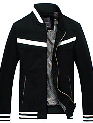 cheap -Men's Long Sleeve Casual / Work JacketCotton Striped / Solid Black / Blue / Yellow