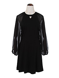 cheap -Women's Daily Simple Sheath DressSolid Round Neck Above Knee Long Sleeve White / Black Cotton