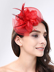cheap -Feather / Net Fascinators / Headwear with Floral 1pc Wedding / Special Occasion Headpiece