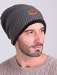 cheap -Ski Hat / Skull Cap Beanie Men's Thermal / Warm / Windproof Snowboard Wool Fabric Solid Colored Winter Sports Winter