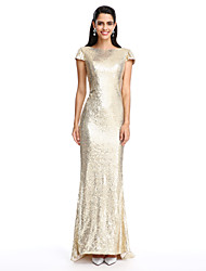cheap -Sheath / Column Scoop Neck Ankle Length Georgette Formal Evening Dress with Crystal Brooch by TS Couture®
