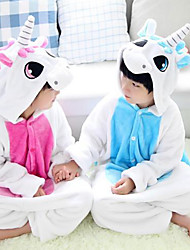 cheap -Kigurumi Pajamas Unicorn Onesie Pajamas Costume Flannel Toison Blue Pink Cosplay For Children's Animal Sleepwear Cartoon Halloween