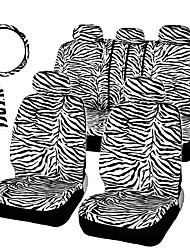 cheap -AUTOYOUTH Short Plush White Zebra Set Universal Fit Most Car Seats Steering Wheel Cover Shoulder Pad Seat Car Covers