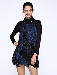 Women's Casual/Daily Plus Size Plus Size Dress,Patchwork Round Neck Above Knee Long Sleeve Blue / Purple Fall