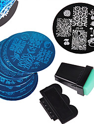 cheap -10PCS Nail Art Stamping Image Template Plates + 2 PCS Nail Art Stamping Printer