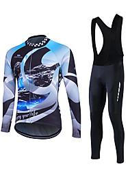 economico -Fastcute Maglia con salopette lunga da ciclismo Per uomo Manica lunga Bicicletta Set di vestiti Traspirante Materiali leggeri Pad 3D