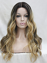cheap -Synthetic Wig Wavy Layered Haircut Heat Resistant Natural Hairline Dark Roots Ombre Hair Dark Brown Gold Blonde Ombre Women's Lace Front