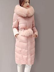 cheap -Women's Solid Pink Down CoatSimple / Cute / Street chic Hooded Long Sleeve
