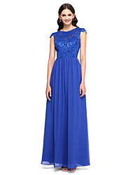 cheap -A-Line Jewel Neck Floor Length Chiffon / Lace Bodice Bridesmaid Dress with Buttons / Lace by LAN TING BRIDE®