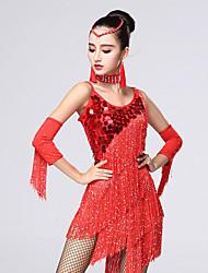 Shall We Latin Dance Dresses Women Chinlon / Rhinestones /  Outfit