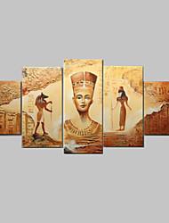 abordables -abstracta antigua pintura al óleo egipcio pintado a mano en la lona 5pcs / set sin marco