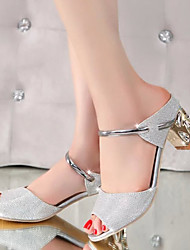 cheap -Women's Sandals Ankle Strap PU Summer Casual Party & Evening Ankle Strap Chunky Heel Silver Golden 1in-1 3/4in