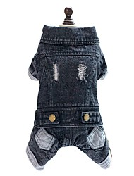 cheap -Dog Jumpsuit Denim Jacket/Jeans Jacket Dog Clothes Jeans Black Denim Costume For Pets Men's Women's Cowboy Fashion